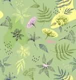 Drawing of a fern leaves and flowers. In green, yellow pink and gray colors a seamless pattern on a green background Stock Photos