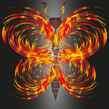 Drawing fiery butterfly. Illustration on black background Abstract fire butterfly with antennae for decoration and design Stock Images