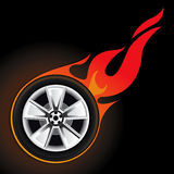 Fire Whell Set 1. Drawing fiery wheel on a black background Stock Image