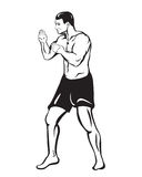 Drawing fighter man in shorts. Painted by a man in a pose of a fighter standing apart body 3/4, wearing sports shorts Royalty Free Stock Images