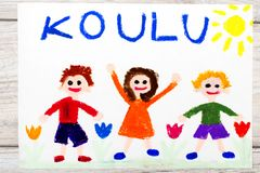 Drawing: Finnish word SCHOOL and happy children. First day at school. Photo of  colorful drawing: Finnish word SCHOOL and happy children. First day at school Royalty Free Stock Photography