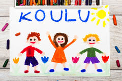 Drawing: Finnish word SCHOOL and happy children. Photo of colorful drawing: Finnish word SCHOOL and happy children. First day at school Stock Photography