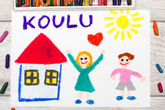 Drawing: Finnish word SCHOOL, school building and happy children. Photo of colorful drawing: Finnish word SCHOOL, school building and happy children. First day Royalty Free Stock Photo