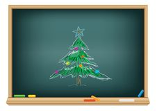 Drawing  fir by a chalk Royalty Free Stock Images
