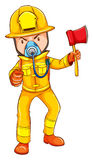 A drawing of a firefighter Royalty Free Stock Photos
