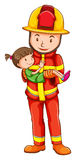 A drawing of a fireman rescuing a young girl Stock Photo