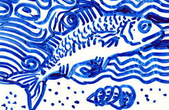 Drawing of a Fish Stock Photo