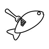 Drawing fish food on fork icon. Vector illustration eps 10 Royalty Free Stock Photography