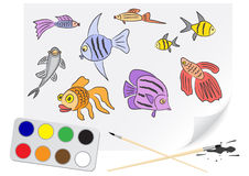 Drawing fishes Stock Photo