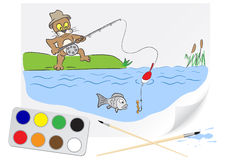 Drawing fishing Royalty Free Stock Image