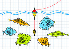 Drawing of fishing Royalty Free Stock Images