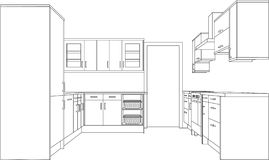 Drawing of a Fitted Kitchen Stock Photography