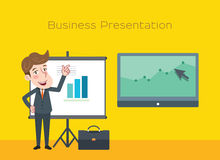 Drawing flat character design business presentation concept Royalty Free Stock Photos