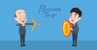 Drawing flat character design business target concept.  Royalty Free Stock Photos