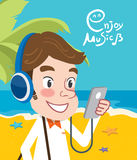 Drawing flat character design enjoy music concept, illustration Stock Photography