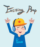 Drawing flat character design exciting rap concept, illustration Stock Photography