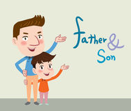 Drawing flat character design father and son concept , illustration Stock Photos
