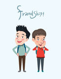 Drawing flat character design friendship concept , illustration Royalty Free Stock Photo