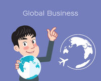 Drawing flat character design global business concept Royalty Free Stock Image
