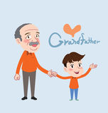 Drawing flat character design grand father and son concept , illustration Royalty Free Stock Photography