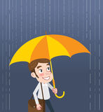 Drawing flat character design man and rain concept Stock Photography