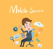 Drawing flat character design mobile service concept Royalty Free Stock Photography