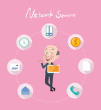 Drawing flat character design network service concept.  royalty free illustration
