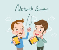 Drawing flat character design network service concept , illustration Royalty Free Stock Image