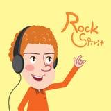 Drawing flat character design rock spirt concept, illustration Stock Images