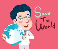 Drawing flat character design save the world concept , illustration Stock Images