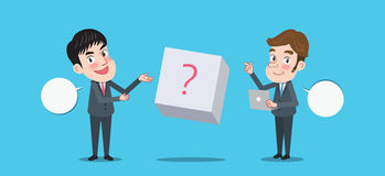 Drawing flat character design solving concept Royalty Free Stock Photo
