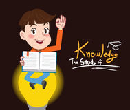 Drawing flat character design study of knowledge concept , illustration Royalty Free Stock Images