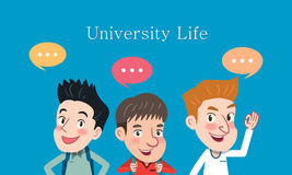 Drawing flat character design university student concept , illustration Royalty Free Stock Photos