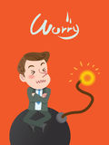 Drawing flat character design worry concept.  stock illustration