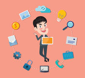 Drawing flat character device app concept Royalty Free Stock Photo