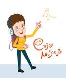 Drawing flat character enjoying music, girl design concept, illustration Stock Photography