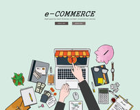 Drawing flat design illustration e-commerce concept. Concepts for web banners and promotional materials. Stock Images