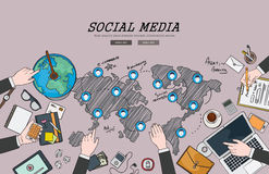 Drawing flat design illustration internet social network concept. Concepts for web banners and promotional materials. Stock Images