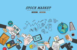 Drawing flat design illustration stock market concept. Concepts for web banners and promotional materials.  Stock Photo