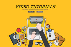Drawing flat design illustration video tutorial concept. Concepts for web banners and promotional materials.  Stock Images
