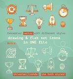 Drawing and flat set icons Stock Image