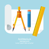 Drawing flat. Drawing tools. Architecture, design, building, planning. can be used for education and school. Ruler, pencil, paper, drawing compass. Modern flat Royalty Free Stock Image