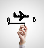 Drawing flight route Royalty Free Stock Photos