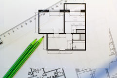 Drawing of the floor plan Royalty Free Stock Images