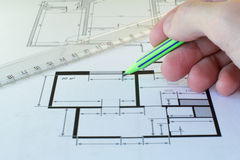 Drawing of the floor plan Stock Photos