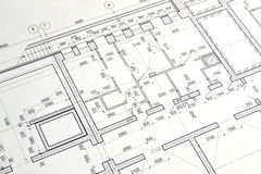 Drawing a floor plan of the building. Floor plan designed building on the drawing stock photo