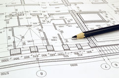 Drawing a floor plan of the building. Floor plan designed building on the drawing royalty free stock image