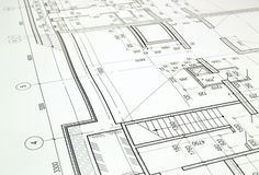 Drawing a floor plan of the building Royalty Free Stock Photography