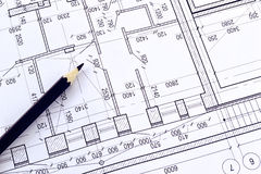 Drawing a floor plan of the building Royalty Free Stock Photo