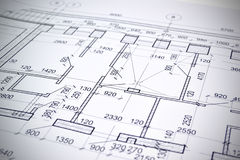 Drawing a floor plan of the building Stock Image